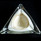 Murano White GOLD FLECKS Triangle Shape SPACE AGE Bowl