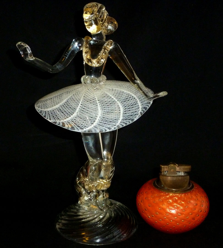 SALVIATI Murano ZANFIRICO Ribbons GOLD BALLERINA Figure