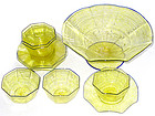 VENETIAN Salviati YELLOW Blue Rim GOLD FLECKS 11PC SET