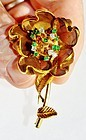 French 18K gold flower brooch articulated diamond