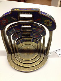 Set of cloisonne-enamedled scale weights