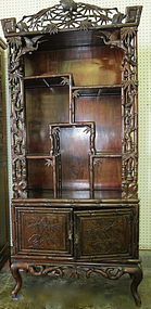 Chinese carved Rosewood Curio shelf