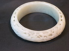 Chinese white jade carved open work bangle