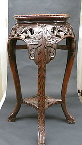 Chinese carved Hard wood stool with marble top