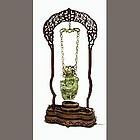 Chinese jade hardstone phoenix vase with hardwood stand