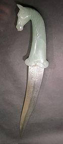 Chinese  jade/hard stone horse handle Mughal dagger