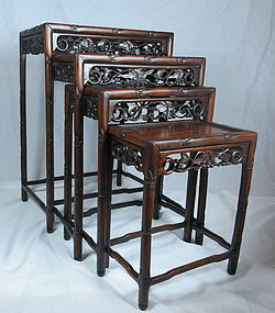 Chinese carved Rosewood 4 nesting tea table