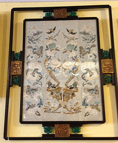 Asian silk embrodery in art deco frame