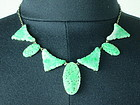 Antique apple green mottle Pierced jadeite necklace