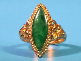 Vintage Chinese jadeite 22k gold ring