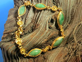 Pure gold and jadeite chain bracelet