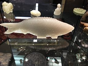 White jade nepherite carved fish