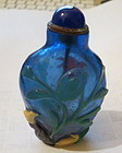 Chinese Peking glass overlay snuff bottle