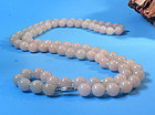 Chinese icy  lavender jade bead necklace with 14k clasp