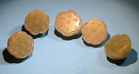Set of five greenish white jade lotus pod buttons