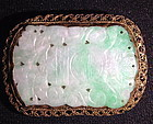 Jadeite plaque gilt silver brooch pin