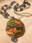 Chinese silk embroidered pendant Peking knot necklace