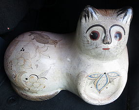 large vintage pottery cat
