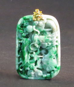 Jadeite dragon pendant with gold loop