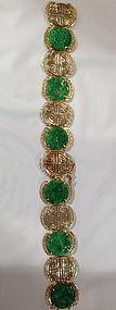 Jadeite 14k gold bracelet