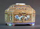 Antique Chinese Enameled Gilt-Silver Filigree Box