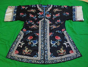 Antique Chinese satin embroidered lady's coat