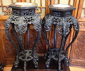 two Antique Chinese rosewood stands with mable top