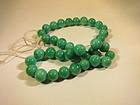 Antique Peking glass jadeite color beads