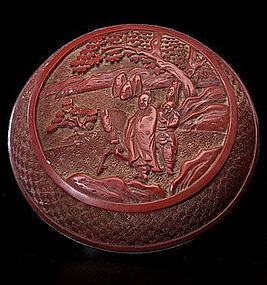 19th Century Chinese Cinnabar circular box