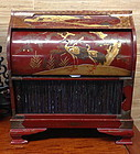 Japanese painted lacquer roll up jewerlry chest