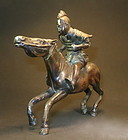 Bronze statue of a Samarai warrior on horse