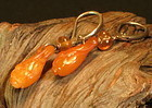 Carved butterscotch amber earrings