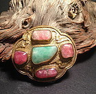 Chinese gilt bronze belt buckle tourmaline jadeite