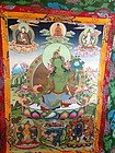 Tibetan Tanka Green Tara with five deities