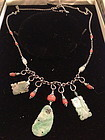 Chinese antique coral  jadeite silver necklace