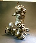 Antique Chinese  pair of bronze Fu dog censer tops