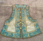Turquoise lady's silk embroidered  vest