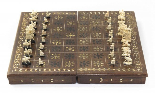 Carved Bone inlaid wood traveling case