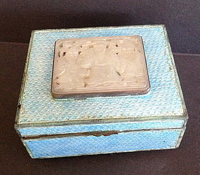 Chinese white jade nephrite plaque inserted enamel box