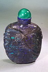 Black opal carved Chinese snuff bottle