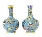 A pair of cloisonné enamel bottle vases, 19th century