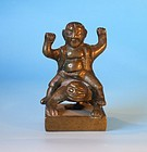 Chinese antique bronze  or brass seal three legged toad with Lui Hai