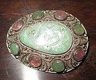 Antique Chinese jadeite tourmaline silver filligree brooch pin