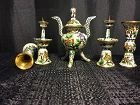Set of 5 Chinese export cloisonne incense burner and candle sticks