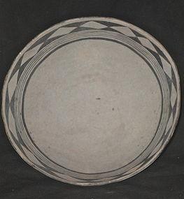 A FINE EXAMPLE OF A BLACK ON WHITE  ANASAZI  POTTERY BOWL