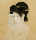 Maiko Bathing, Antique Taisho Silk Scroll by Ikuho
