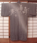 Antique Japanese Dancing Skeleton Jiban Kimono