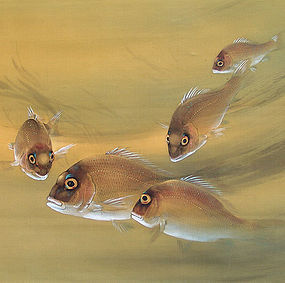 Rare! Imai Keiju Festive Japanese Scroll, Tai-fish