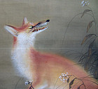 Fox and Moon Antique Japanese Scroll by Hotta Shuso