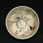 Antique Japanese Chawan Tea Bowl painted by Ogata Gekko